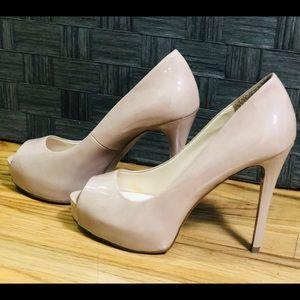 SOLD on FB - Pattened cream peep toe wedge heels